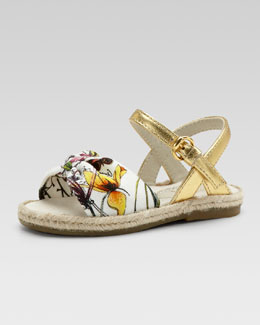 Gucci Golden Floral-Print Espadrille Sandal, Toddler Sizes
