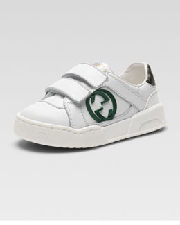 Gucci Rebound Double-Strap Sneaker, White/Green