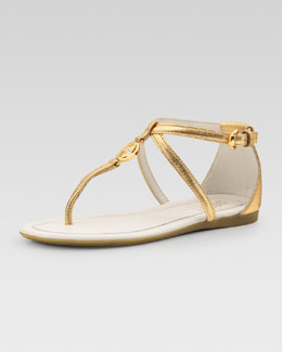 Gucci Audrey Metallic Thong Sandal, Gold