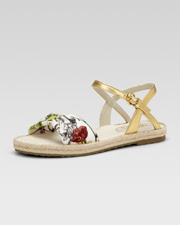 Gucci Golden Floral-Print Espadrille Sandal, Kids' Sizes