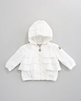 Moncler Avec Lightweight Ruffle Jacket, Cream