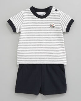 Moncler Pique Stripe Shirt and Shorts Set