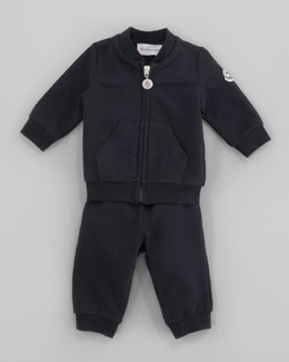 Moncler Tracksuit Set with Logo Patch, Navy
