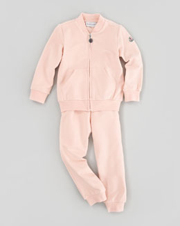 Moncler Tracksuit Set with Logo Patch, Light Pink