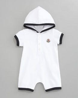 Moncler Hooded Pique Playsuit