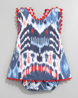 Oscar de la Renta Ikat Print Dress & Bloomers