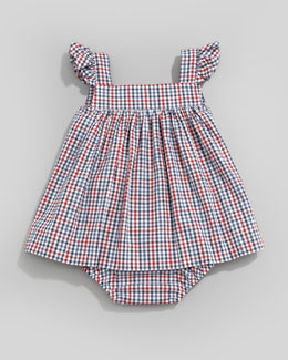 Oscar de la Renta Check Ruffle-Trim Sun Dress