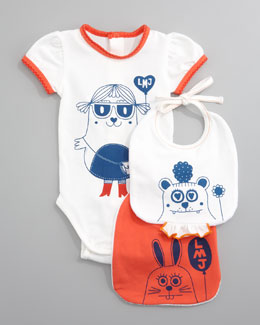 Little Marc Jacobs Bodysuit & Bibs Gift Set
