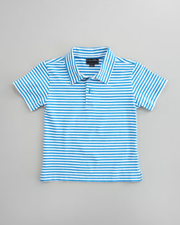 Oscar de la Renta Striped Knit Polo, Marine Blue/White