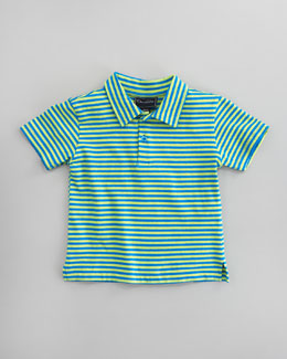 Oscar de la Renta Striped Knit Polo, Blue/Lime