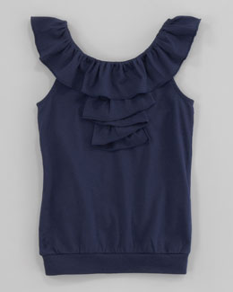 Ralph Lauren Childrenswear Cascading Ruffle Top, Newport Navy