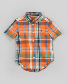Ralph Lauren Childrenswear Orange Blake Short-Sleeve Plaid Shirt, Sizes 2-7