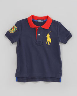 Ralph Lauren Childrenswear Navy Big Pony Contrast-Collar Polo, Sizes 207