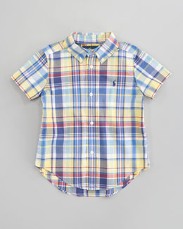 Ralph Lauren Childrenswear Blake Short-Sleeve Plaid Shirt, Sizes 2T-7