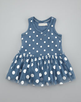 Stella McCartney Baby Bell Dotted Tulle Dress, Blue