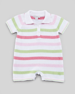 Kissy Kissy Striped Knit Playsuit, Pink/Green