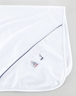Kissy Kissy Starboard Sailboat Embroidered Blanket