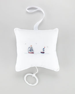Kissy Kissy Starboard Sailboat Embroidered Pillow