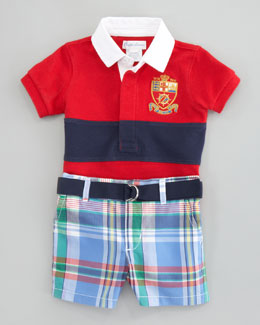 Ralph Lauren Rugby Shirt & Madras Short Set, 3-9 mo.
