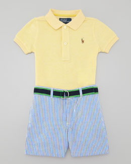 Ralph Lauren Polo Shirt & Seersucker Shorts Set, 12-24 Months