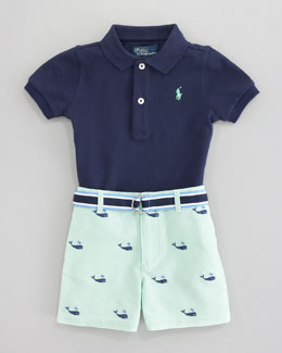 Ralph Lauren Schiffli Embroidered Shorts & Polo Set, 3-9 mo.