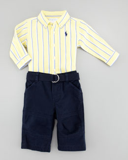 Ralph Lauren Oxford Stripe Shirt & Pant Set, Sizes 3-9 Months