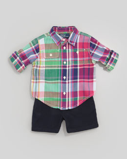 Ralph Lauren Matlock Plaid Shirt & Navy Shorts, 12-24 mo.