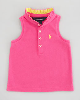 Ralph Lauren Sleeveless Polo Shirt With Ruffle Collar, Sizes 12-24 mo.