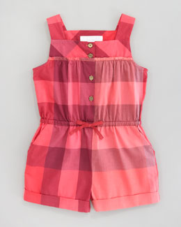 Burberry Check Short Jumpsuit, Pomegranate Pink