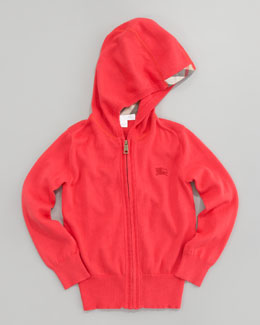 Burberry Zip Hoodie Cardigan, Pomegranate