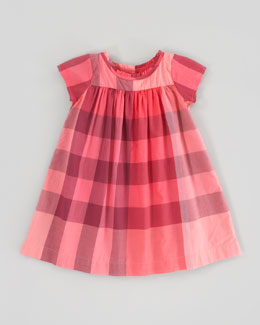 Burberry Pomegranate Pink Check Voile Dress, 6m-3Y