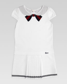 Gucci Intarsia Bow-Collar Dress, White Multi