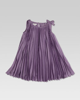 Gucci Pleated Silk Dress, Lilac