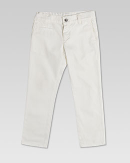 Gucci Washed Cotton Gabardine Pants, White