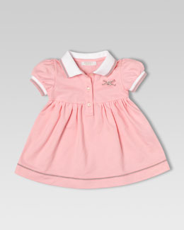 Gucci Stretch Pique Polo Dress, Medium Pink