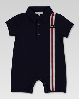 Gucci Striped Short Playsuit, Navy