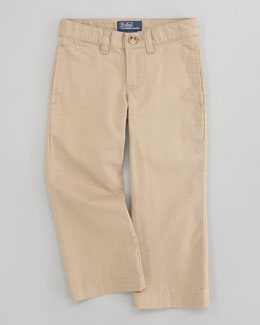 Ralph Lauren Childrenswear Suffield Flat-Front Pants, Boating Khaki, Sizes 8-10
