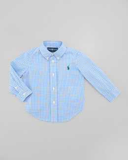 Ralph Lauren Childrenswear Blake Long Sleeve Gingham Shirt, Light Blue Multi, Sizes 8-10