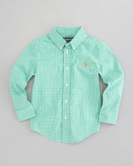 Ralph Lauren Childrenswear Blake Long Sleeve Gingham Shirt, Green Multi, Sizes 8-10