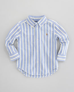 Ralph Lauren Childrenswear Blake Long-Sleeve Striped Oxford Shirt, Blue/Multi, Sizes 8-10
