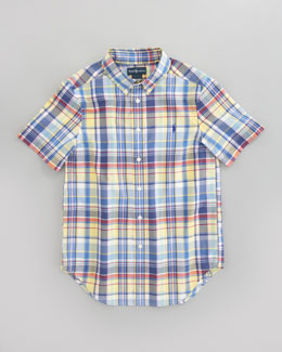 Ralph Lauren Childrenswear Blake Short-Sleeve Plaid Shirt, Yellow Multi