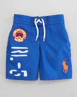 Ralph Lauren Childrenswear Maribella Blue Sanibel Swim Trunks, Sizes 8-10