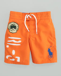 Ralph Lauren Childrenswear Bedford Orange Sanibel Swim Trunks, Sizes 8-10