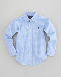 Ralph Lauren Childrenswear Custom-Fit Tattersall Oxford Shirt, Sizes 4-7