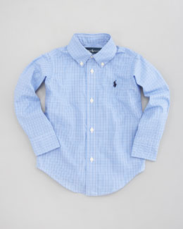 Ralph Lauren Childrenswear Custom-Fit Tattersall Oxford Shirt, Sizes 8-14