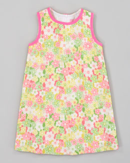 Lilly Pulitzer Sunbonnet Lace Little Lilly Classic Shift Dress, Yellow/Pink