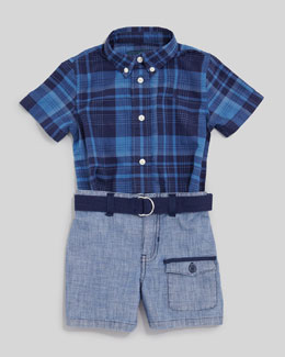 Ralph Lauren Blue Plaid Short Sleeve Shirt & Chambray Shorts Set, 12-24 mo.