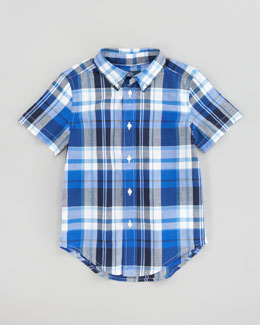 Ralph Lauren Orange Blake Short-Sleeve Plaid Shirt, Sizes 8-10