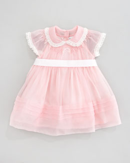 Ralph Lauren Childrenswear Smocked Silk Dress, Pink Patina