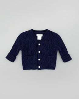 Ralph Lauren Childrenswear V-Neck Cable-Knit Cardigan, French Navy